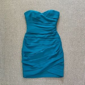 BCBG blue wrap cocktail dress